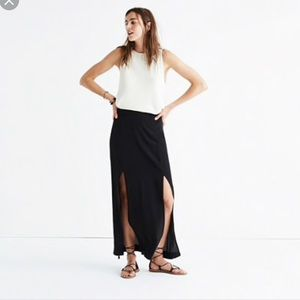 Madewell Two-Slit Silk Maxi Skirt